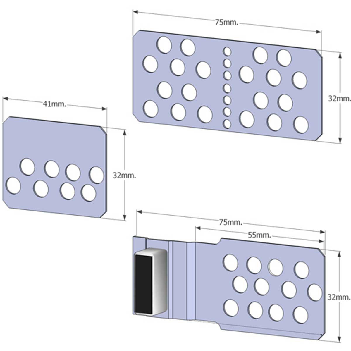 T3800400 Tomecanic Magnetic Tile Access Panel 4pcs