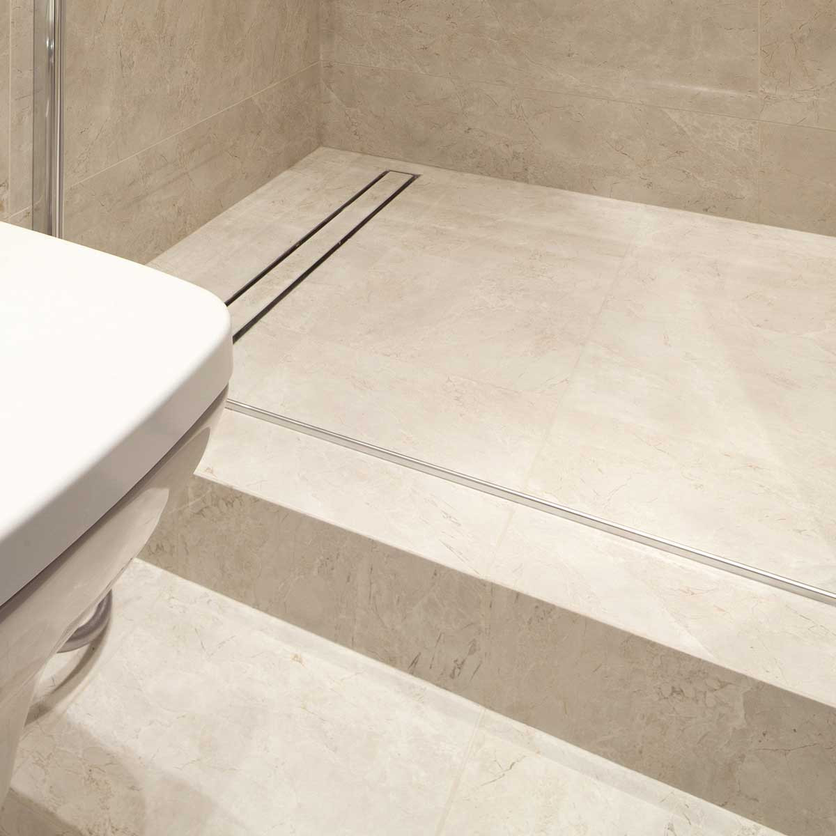 Tile in Laticrete Hydro Ban Linear Drain