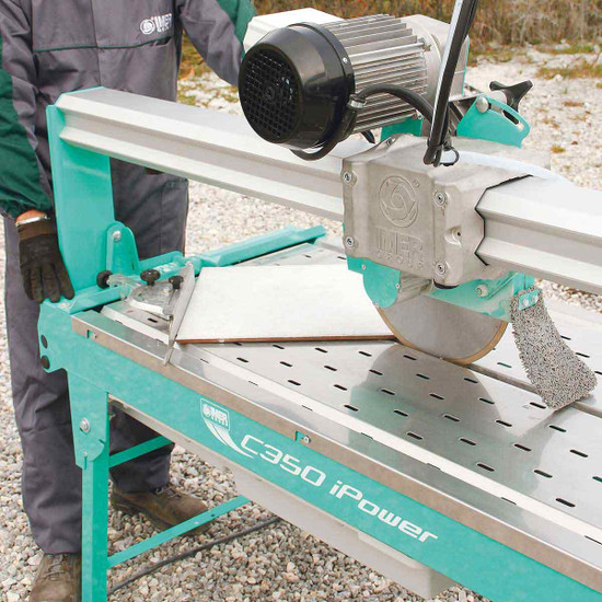 "Imer C-350 i-Power 14"" Stone Saw cutting tile"