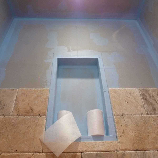 Hydro Barrier can be used on interior and exterior, horizontal or vertical surfaces and is approved by IAPMO for use as shower pan liner flexible seamless waterproof anti-fracture