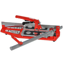 Professional, slide tile cutter. Cuts up to 20 in of the hardest porcelain, floor tile. Large breaker for easy snapping anywhere on tile. Spring loaded pads