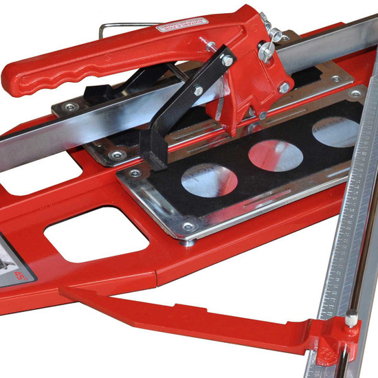 Kristal Mega-Cut tile cutter Spring loaded steel plates for better shock absorption and allow user a clean break. Specially designed ruler can swivel and lock for repetitive cuts at any angle