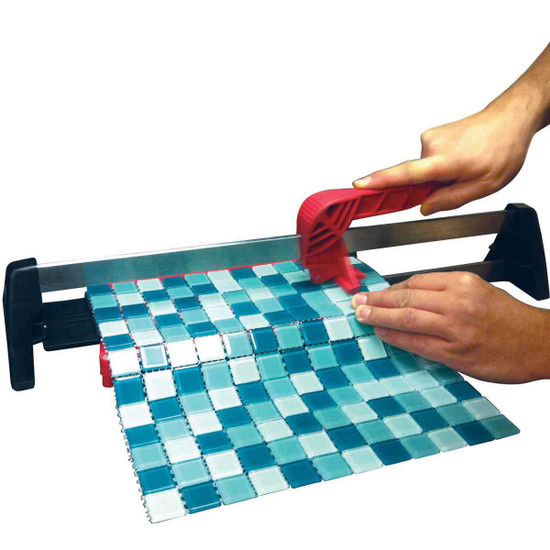 For cutting glass mosaics use of a professional manual tile cutter instead of the diamond blade, Cutting wheel scores only the upper surface of the glass leaves a perfect clear cut edge