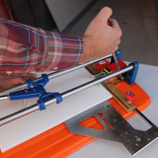 rubi ts tile cutter lateral stop in use