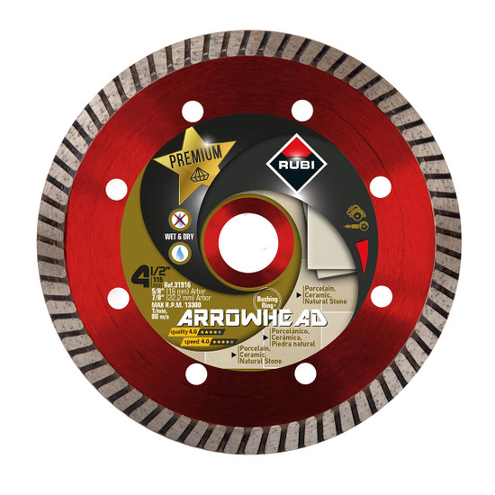 Rubi Arrowhead 4-1/2 inch Dry Turbo Diamond Blade