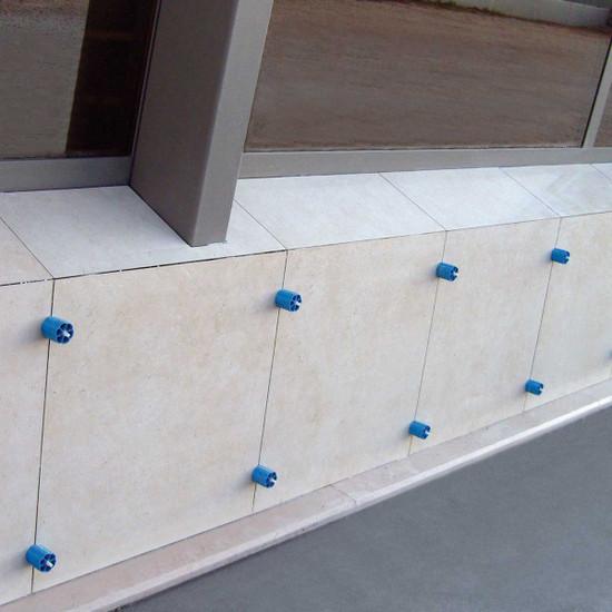 Prodeso outdoor tile installation, vertical wall tile Linear Leveler Proleveling System