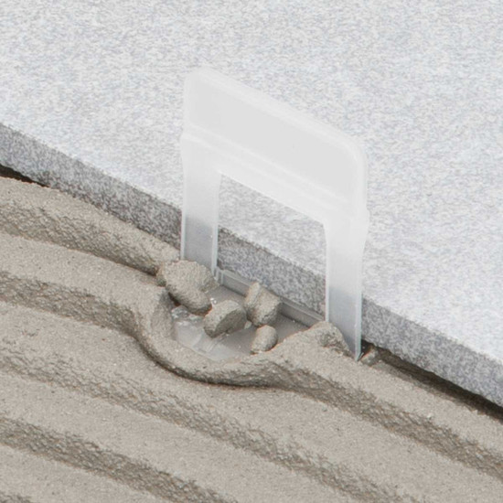 raimondi 1/16in large white clip tile installation with thinset