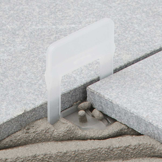 rls clip set in mortar tile corner leveling