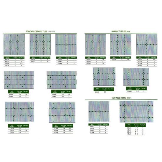 MLT125STRAP MLT Leveling System straps layout chart ceramic floor tile