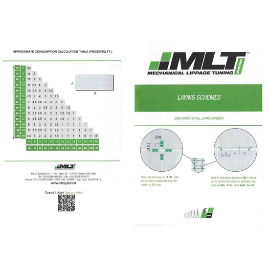 MLT Leveling consumption chart for porcelain Base Plates