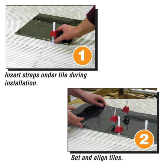 tuscan insert straps under tile, set and align tile