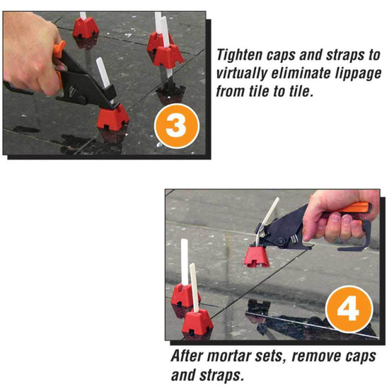 tighten straps eliminates lippage from tile to tile. stone or ceramic tile
