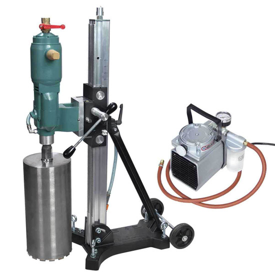 CS Unitec 12 inch Pneumatic Core Drill with Stand & Vacuum Pump