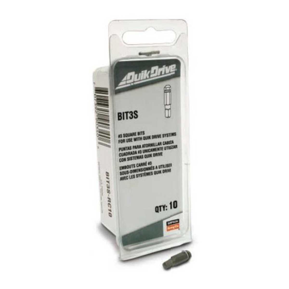 BIT3S-RC10 Quik Drive #3 Bit Pack 10 Pack