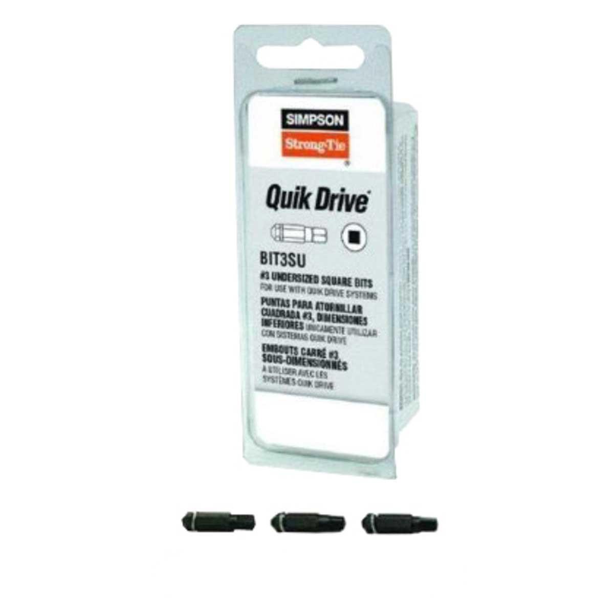 BIT3SU-RC3 Quik Drive #3 Undersized Square Bit 3 Pack
