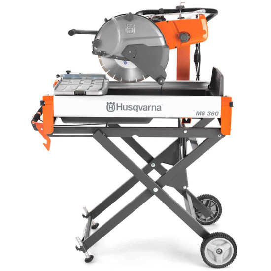 husqvarna ms 360 115v block saw with rolling stand