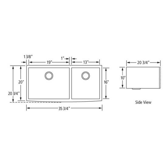 Artisan CPAZ3621-D1010 Chef Pro Sink Dimensions