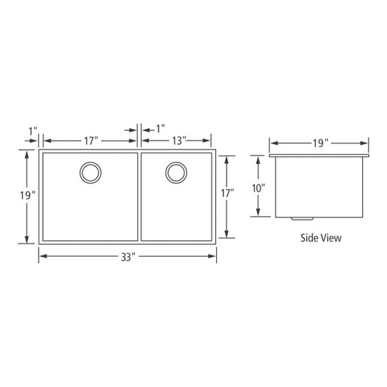 Artisan CPUZ3319-D1010 Chef Pro Sink Dimensions