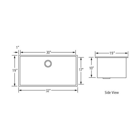 Artisan CPUZ3219-D10 Chef Pro Sink Dimensions