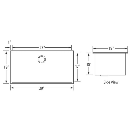 Artisan CPUZ2919-D10 Chef Pro Sink Dimensions