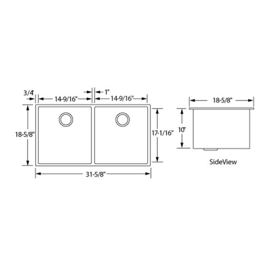 Artisan CPUZ3219-D1010 Chef Pro Sink Dimensions