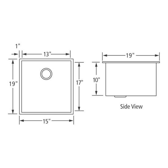 Artisan CPUZ1519-D10 Chef Pro Sink Dimensions