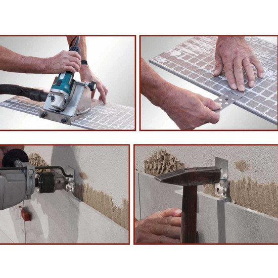 The safety withholding hook RAI-FIX is a simple and effective device that prevents the tile slab set with adhesive to fall down in the event of detachment from the wall