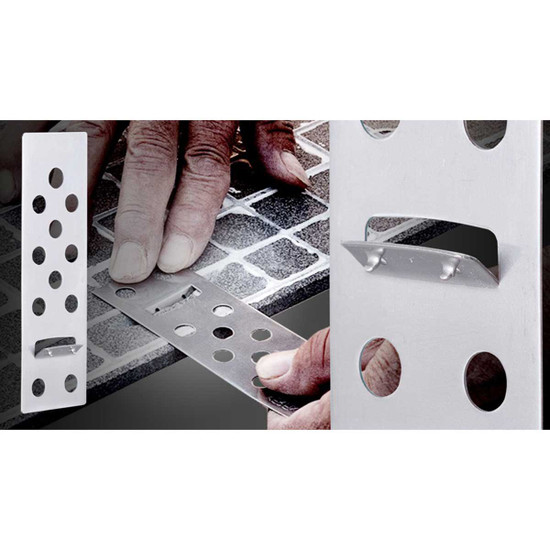 Raimondi Rai-Fix Grooving Tool create the slot in the back of the tile slab. Slot where to insert the RAI-FIX hook