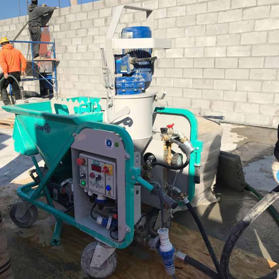 Spraying Mortar with Koine 35 for Masonry Work