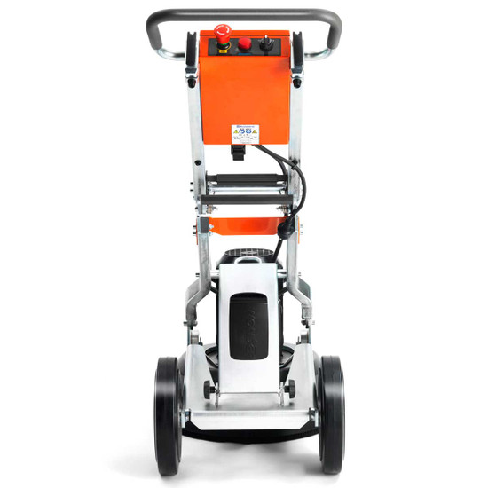 The Back of Husqvarna PG 450 18 inch Floor Grinder with Large Rubber Wheels