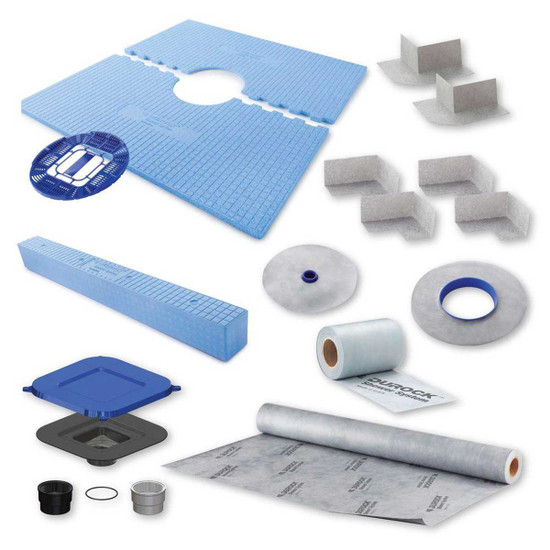170132 USG Durock Pre-Sloped Center Drain Shower Kit 48x48