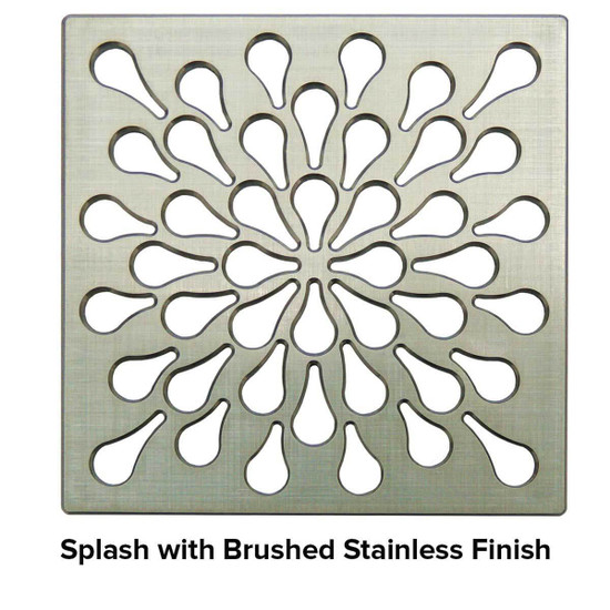 USG 4 inch Shower Grate Brushed SS Splash