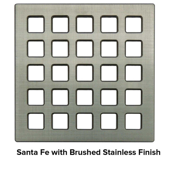 USG 4 inch Shower Grate Brushed SS Santa Fe