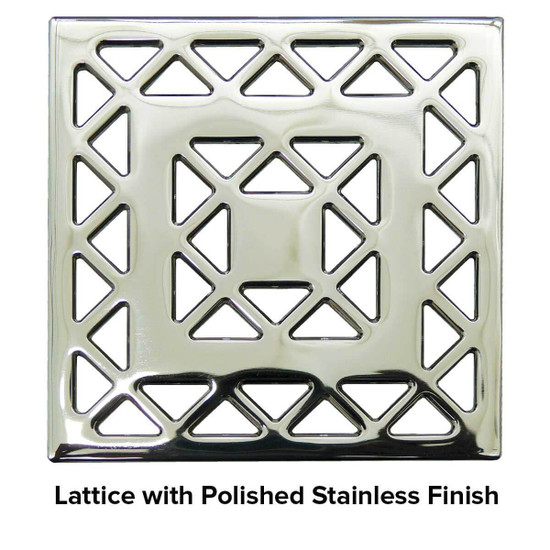 USG 5 inch Shower Grate Polished SS Lattice