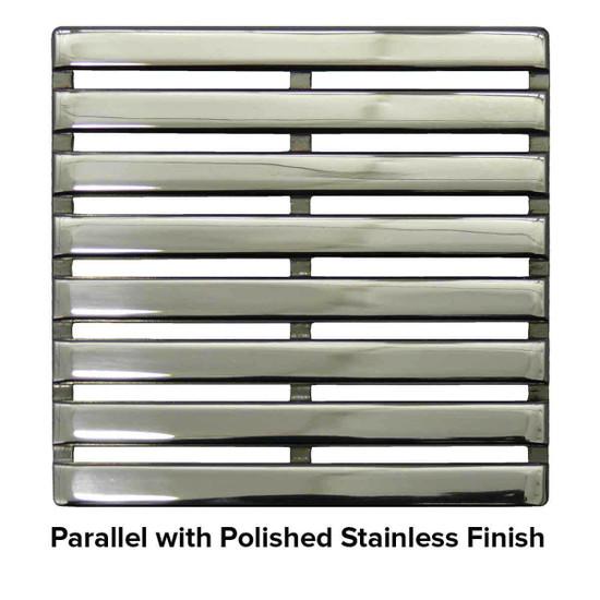 USG 5 inch Shower Grate Polished SS Parallel