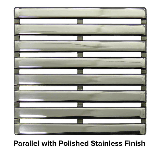 USG 5 inch Shower Grate Polished SS Parallel
