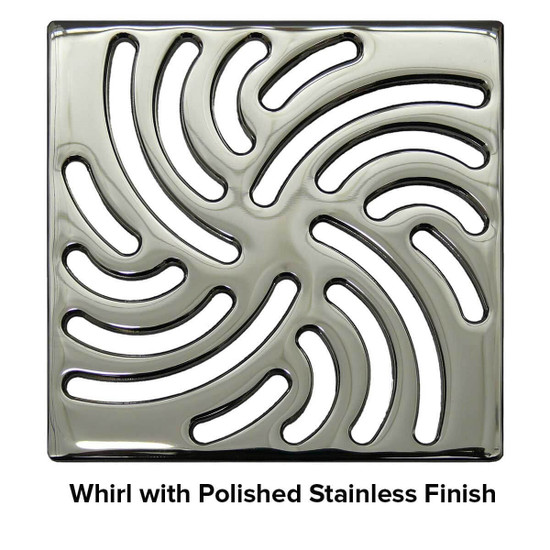 USG 5 inch Shower Grate Polished SS Whirl