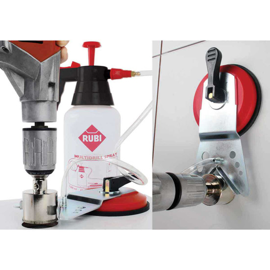 hole saw drill guide and sprayer