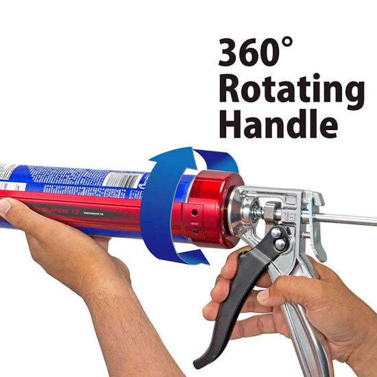 Comfortable, ergonomic aluminum handles, full 360 degree rotation CONVOY18 Tajima Convoy Super 18 Caulk Gun