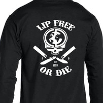 Lip Free or Die Long Sleeve T-Shirt. Our classic T-shirt is now available in a long sleeve version
