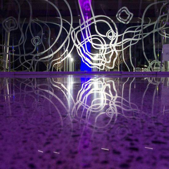 Purple concrete polished floor Husqvarna Hiperhard