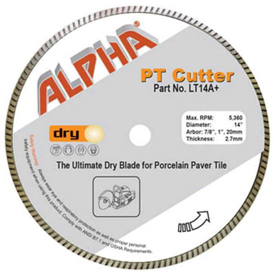 Alpha Tools PT Cutter Demolition Saw Diamond Blade for Porcelain Pavers