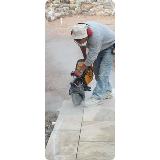for cutting porcelain paver tile with a gas-powered demolition saw