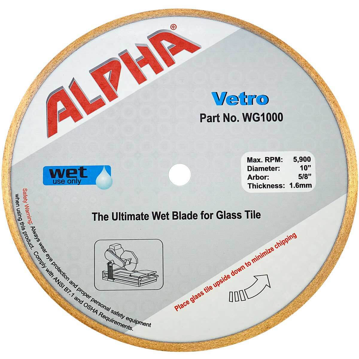 alpha vetro 10in glass diamond blade