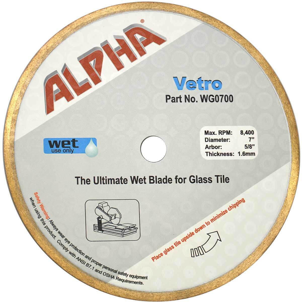 alpha vetro 7in glass diamond blade