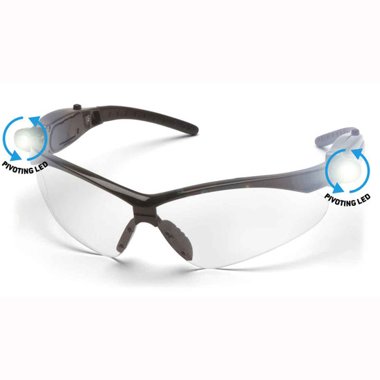 Pyramex Clear Lens Safety Glasses with Pivoting LED Temples