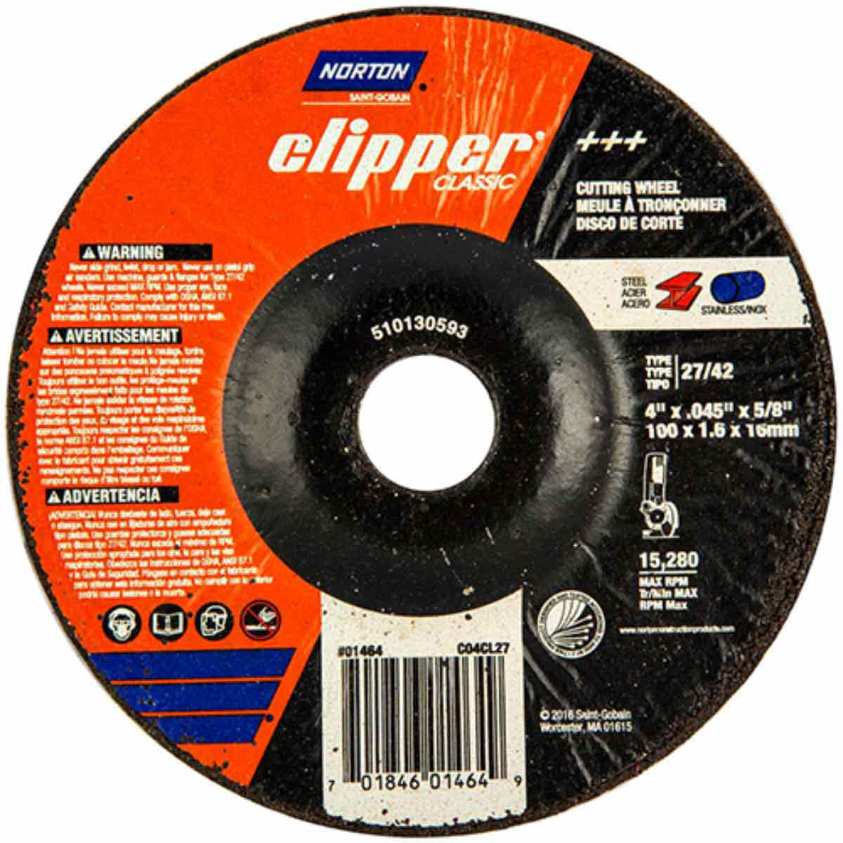 CO4CH27 Norton Classic Abrasive Type 27 Cut-off Wheels