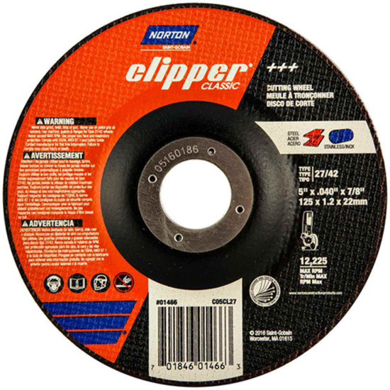 Norton Classic 5 inch abrasive right-angle cut-off wheels