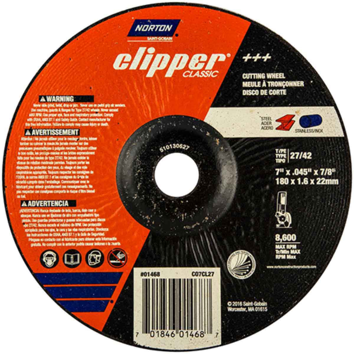 CO7CH27 Norton Classic Abrasive Type 27 Cut-off Wheels