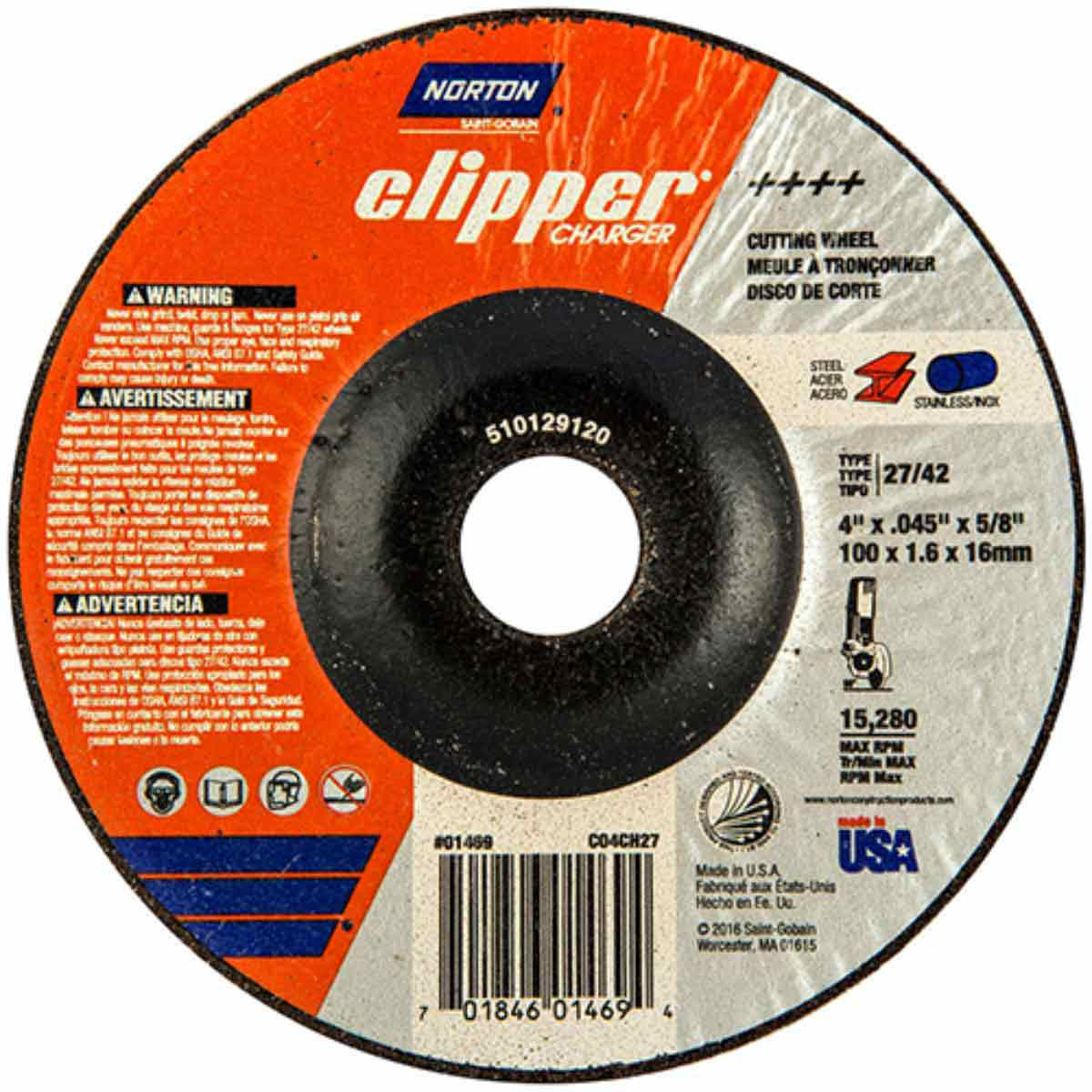 CO4CH27 Norton Charger Abrasive Type 27 Cut-Off Wheels